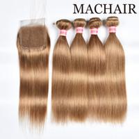 Blondes # 27 peruanisches glattes Haarbündel mit Verschluss Peruanischer Honig Blonde Körperwelle Menschenhaar-Webart 3 Bundles mit 4X4-Spitze-Verschluss