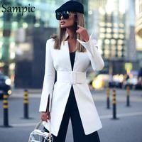 tour de la mode Sampic vers le bas ouvrants surdimensionné femmes colllar occasionnels automne lâche veste blazer robe à manches longues Blazers longues blanches
