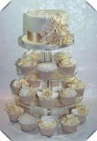 HOT! 무료 배송! 라운드 크리스탈 4 계층 아크릴 계층 케이크 루 디저트 컵 케이크는 결혼식을 위해 스탠드 스탠드
