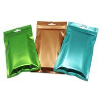 1500pcs 7.5x12cm colorido Matte Limpar Alumínio Zipper embalagem Bag Diversos Carregador Mylar Zip fechamento Pouch com Pendure Buraco
