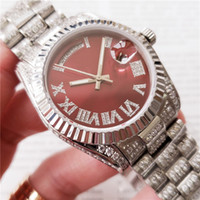 Diamond Women Watch Sweep Movimento meccanico Meccanico Roman Num DayDate Silver Stainess Sapphire Red Dial Solid Clasp
