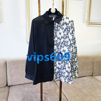 High end women girls Long- sleeved shirt letter Print lapel t...