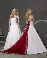 Rosso e bianco abiti da sposa senza spalline in rilievo ricamato Impero Cattedrale Tail economici A Line lace-up corsetto Abito da sposa Modesto