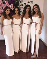 2020 New White Sheath Bridesmaids Dresses Spaghetti High Spl...