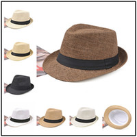 Cappello estivo estivo in paglia di Fedora con fibbia della cintura Piatto largo a tesa larga cappello da spiaggia Outdoor viaggio vacanza ombrellone erba treccia cappuccio LJJJ41