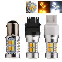 T25 3157 7443 1157 LED-Rücklicht 5630 20SMD Dual-Farbe weiß / gelb weiß / gelb LED Birnen-Auto-Blinkleuchten DRL 2Pcs