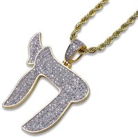 Gold Mens Necklace Religious Symbol Iced Out Pendant Designe...