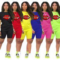 Womens outfits short sleeve 2 piece set tracksuit jogging sportsuit shirt shorts outfits sweatshirt pants sport suit hot selling klw3641