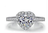 оптовые chaming г кристалл алмаза высокого качества низкой цены 10pcs / Lots сердце diamodn кристалл 925 серебра повелительницы кольца больше размера БББ