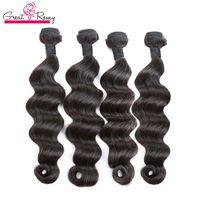 4 unids / lote brasileño suelto profundo paquetes de cabello virgen humano Hairsextesnion Natural Dyeable GreatRemy