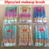 Diamante 3D Escovas 20pcs Set Powder Brush Kits Rosto Pincel Eye Puff Batch ColorfulBrushes Fundação escovas beleza Cosméticos Em estoque