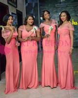2019 كورال قبالة الكتف فساتين bridemaid mermiad مطاطا الحرير جنوب أفريقيا نمط خادمة الشرف أثواب الزفاف الزوار ل ارتداء الزفاف