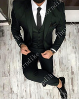 고품질의 원 버튼 새 블랙 웨딩 신랑 턱시도 노치 옷깃 신랑 들러리 디너 무도회 복장 (자켓 + 바지 + 조끼 + 넥타이)