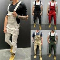 Calças masculinas homens jeans jeans jeans macacão macacão macacão magro fina moda bib calça casual roupas coreanas homens 2021
