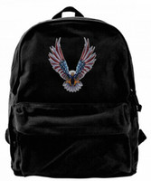 Bald Eagle American Flag Canvas Shoulder Backpack Cute Backp...