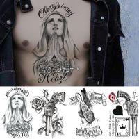 Временные татуировки Молиться Angel Arm Временные татуировки наклейки пистолет розы Водонепроницаемый Tatto Любовь и мир Body Art Поддельные Татуировки Мужчины Женщины