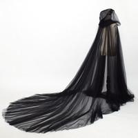 Capazes medievais Costumes Gótico senhoras Duas camadas Tule Manto Elegante Boho Fada Fada Longo Longo Nupcial Cloaks com Hood 2.4m Comprimento
