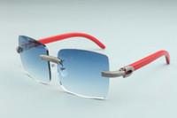 Neue Fabrik direkt Verkaufsmänner großen Rahmen Quadrat Sonnenbrille voller Diamanten T3524012-2C Luxus rahmenlos naturrot hölzerne Sonnenbrille Brille