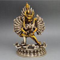 Coopper heykel Koleksiyon dekore Eski İşi Tibet Gümüş Yamantaka Buda Heykeli Oyma