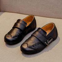 Çocuklar Elbise Örgün Okul Düğün Ayakkabı Çocuk Oxford Ziyafet Siyah Kauçuk Sole Loafers için Boys Gerçek Deri Ayakkabı
