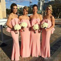 Blush Pink Boho Mermaid Bridesmaid Платья для подружки невесты 2020 Беремеры Ордены Длина пола Пользовательская Горничная Человеческий Платья Пляж Свадьба Гостиницы
