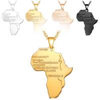 أفريقيا خريطة قلادة قلادة البلاتين / 18 كيلو ريال / روز الذهب / بندقية الأسود مطلي للجنسين النساء / الرجال الأزياء الأفريقية نمط قلادة الهيب هوب المجوهرات هدية