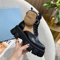 nuova precipitò pelle Rois nylon Stivali Martin stivali da combattimento scarpe alla caviglia per le donne cinghia con il sacchetto di nylon rimovibile Moda Donna Martin Boots