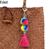 Exknl Brand Tassel Cute Key Chain Women Metal Keyring Rabbit...