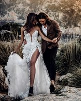 Guaina Beach Abiti da sposa 2020 NUOVA boho abiti da sposa d'epoca Abiti da sposa in pizzo applique vesti de mariée