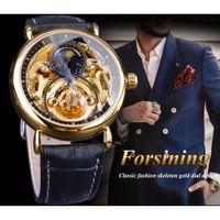 Forsining 2018 люкс Скелет часы Мужской фазы Луны Мода Синий Руки Водонепроницаемый Мужские Автоматические часы Top Brand Luxury