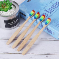 Toothbrush Bamboo Wooden Handle Rainbow Soft Bristle Oral Ca...