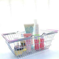 Supermarket سوبر ماركت سلة التسوق سلال الاطفال لعب سطح المكتب سطح التجميل منظم مع مقبض الحديد تخزين سلة 14.7 * 10.3 * 5.8 سنتيمتر LXL888-1