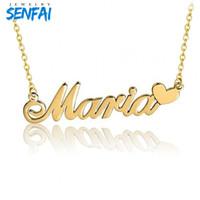 Пользовательские ожерелье в кулон ожерелья популярный дизайн персонализированные любое имя с сердцем золото колье Collare Cadeau Maitresse