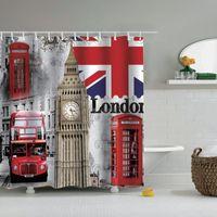 Dafield London Duschvorhang Britisch Big Ben UK Jack Flaght Phone Boot Tower Bridge London Stadt Straße Duschvorhang