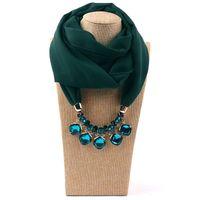 Vintage sjaal voor vrouw Europese en Amerikaanse stijl wrap mode dame multicolor strass kralen duidelijke chiffon legering hanger sjaals LSF084