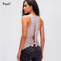 Peeli Sexy Back Open Sport Femmes Gilet Loose Fit Yoga massif Fitness Chemises respirant O col Athletic Gym Débardeurs XS-XL