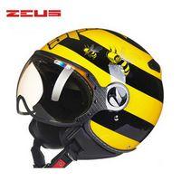 노란색 꿀벌 전기 오토바이 반 얼굴 헬멧, ZEUS 3/4 스쿠터 오토바이 여성과 남성 M L XL XXL에 대한 모토 크로스 헬멧