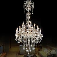 نمط كريستال الأوروبي مصباح الحديثة غرفة المعيشة بسيط ضوء شمعة كبيرة مجمع فيلا مشروع الدرج الثريا 12 أو 18 الذراع 90-260V