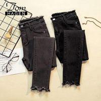 Женские джинсы GAREMAY 2021 Женские джинсовые брюки Черный цвет женские Донны Стремящиеся днища Феминино худые для женщин Брюки