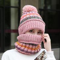 Beanie bufanda máscara 3pcs caliente Conjunto Invierno mujer ganchillo orejeras de punto sombreros al aire libre a prueba de viento Cap OOA7375
