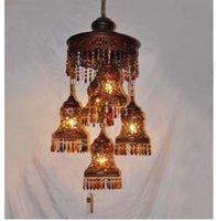 Antiguo rojo colorido de Bohemia colgante lámpara colgante Decora luz pendiente D40cm H120cm Escalera Decora Bohemia 110V ~ 220V de cristal Lámpara colgante