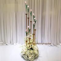 Sıcak satış altın metal çiçek aranjman düğün masa backgroup dekorasyon senyu0453 için / çiçek fon / çiçek duvar standı standları