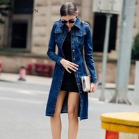 Women Autumn Medium Length Denim Trench Coat Long Sleeve Vintage Casual Female Jeans Windbreaker Pencil Dress with Belt Overcoat1