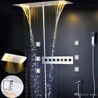 Luxe LED douche Set de bain Accessoires Robinets Overhead Big pluie Pomme de douche Robinet cascade SPA ColumnThermostatic multifonction Douche