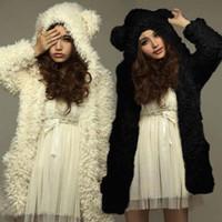 Automne Hiver Femmes Chaud Fourrure Manteaux Vestidos Mode Mignon Ours Oreille En Peluche À Capuche Noir Blanc Manteau Grande Fille Survêtement 6Q2458