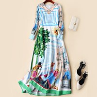 High Quality Runway Maxi Dresses for Women Long Sleeves 2019...