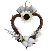 Gift Wrap European Eternal Cotton Ring Christmas Ornaments Small Heart Wicker Door Wall Wedding Arrangement