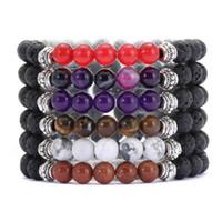8MM Negro Natural lava piedra curativo del cristal estiramiento Pulsera de cuentas Hombres Mujeres manera hecha a mano joyas preciosas pulseras de piedras preciosas Ronda