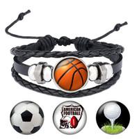 Handgemachte Snap-Button Schmuck Fußball Basketball-Armband Sport Ball Baseball Vintage Black Punk-Armbänder Geschenke für Männer B050
