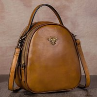 Retro leather Women backpack female mini small bag ladies 20...